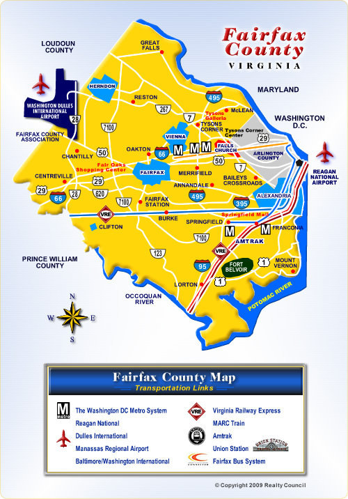 Map of Fairfax County Virginia Communities