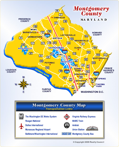 Map of Montgomery County Maryland Communities