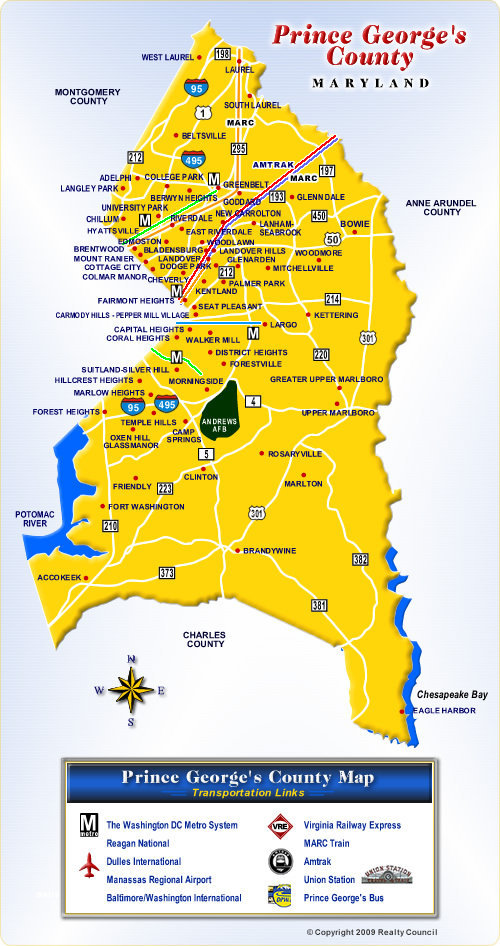Map of Prince Georges County Maryland Communities